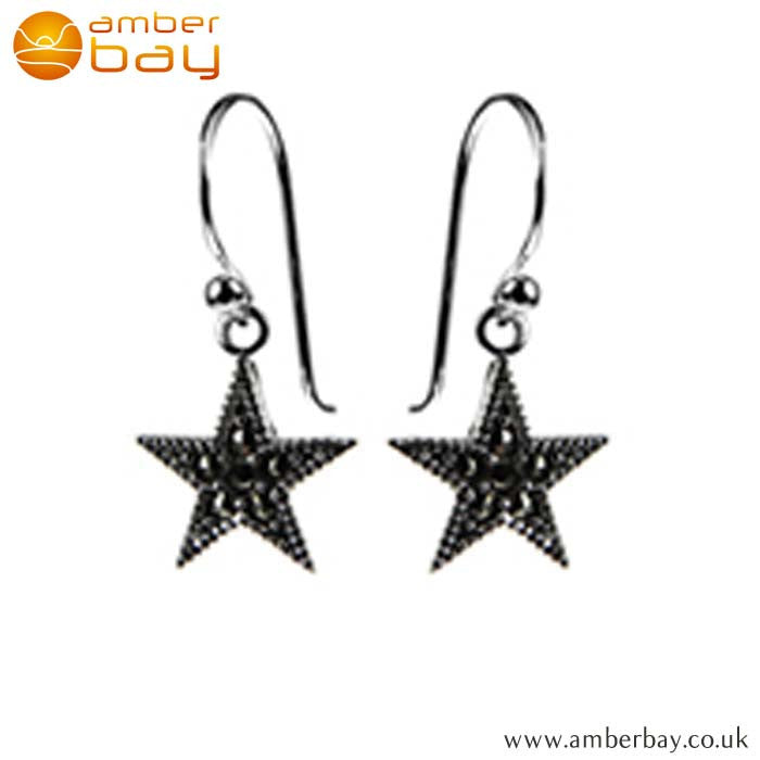 Sterling Silver and Marcasite Star Drop Earrings E949MR at Amber Bay