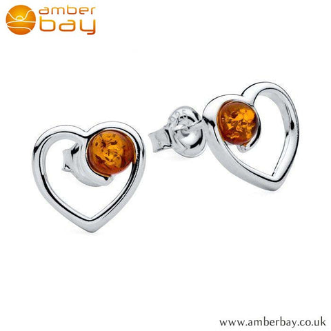 Silver and Amber Heart Studs ER214 at Amber Bay