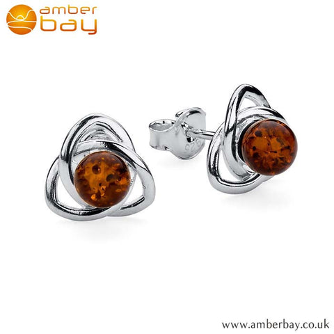 Silver and Amber Celtic Knot Stud ER219 at Amber Bay