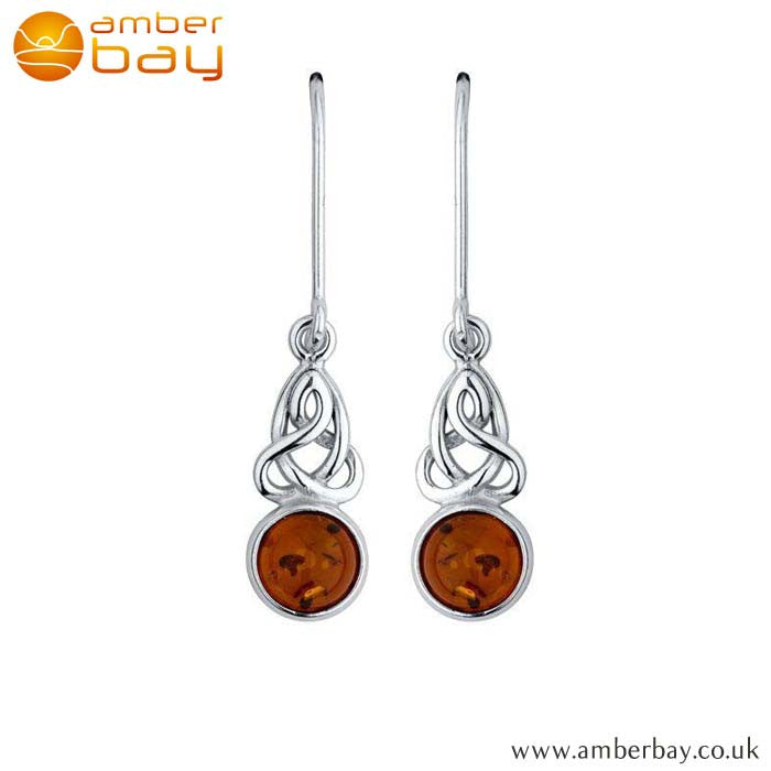 Silver and Amber Celtic Drops ER241 at Amber Bay