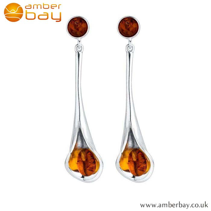 Silver and Amber Tulip Drop Earrings ER298 at Amber Bay