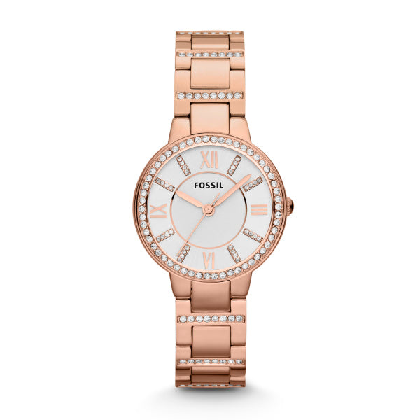 Fossil ES3284 Ladies Rose Gold Toned Stainless Steel Virginia Watch