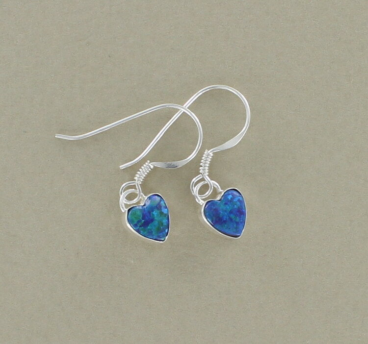 Sterling Silver and Blue/Green Opalique Heart Drop Earrings