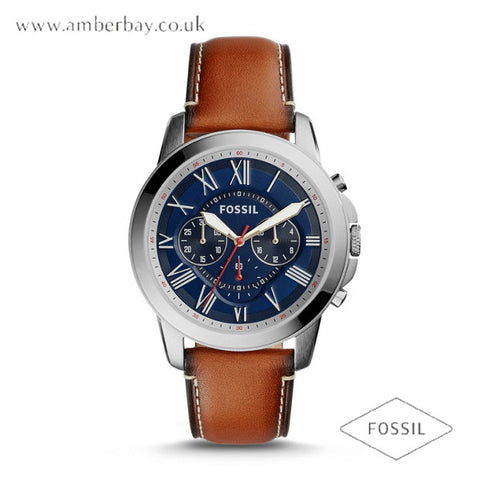 Fossil FS5210 Gents Leather Strap Blue Dial Multifunction Watch