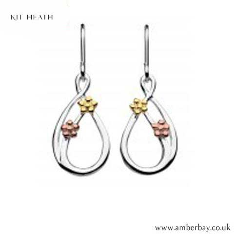 Silver, Rose Gold and Yellow Gold Plated Flower Drop Earrings 6490GRG Kit Heath