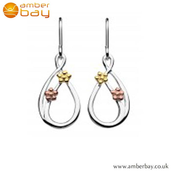 Silver, Rose Gold and Yellow Gold Plated Flower Drop Earrings 6490GRG Kit Heath at Amber Bay