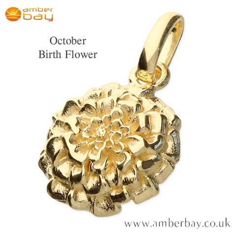 Gold Plated Marigold October Birth Flower Pendant/Charm