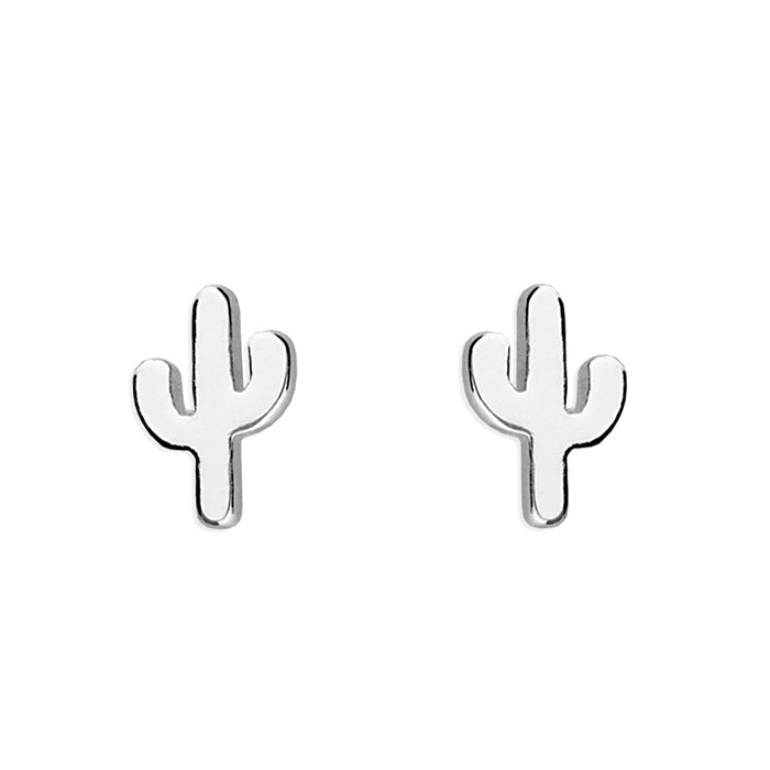 Sterling Silver Small Cactus Stud Earrings