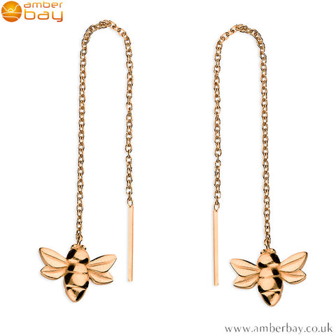 Rose Gold Plated Pull-Through Bee Drop Earrings