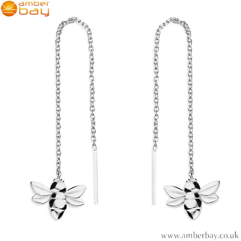 Sterling Silver Bee Pull-Through Drop Earrings