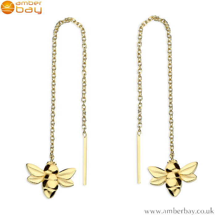 Yellow Gold Plated Bee Pull-Through Drop Earrings