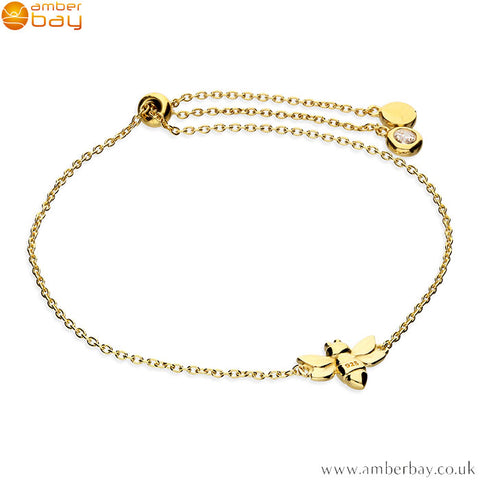 Yellow Gold Plated Bee Bracelet / Slider