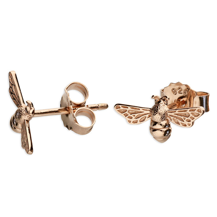 Rose Gold Plated Sterling Silver Bee Stud Earrings