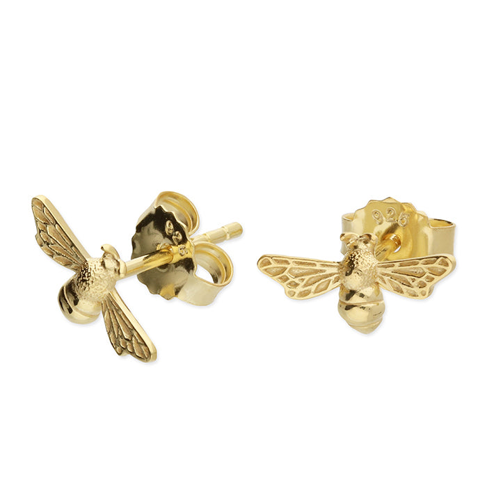 Yellow Gold Plated Sterling Silver Bee Stud Earrings