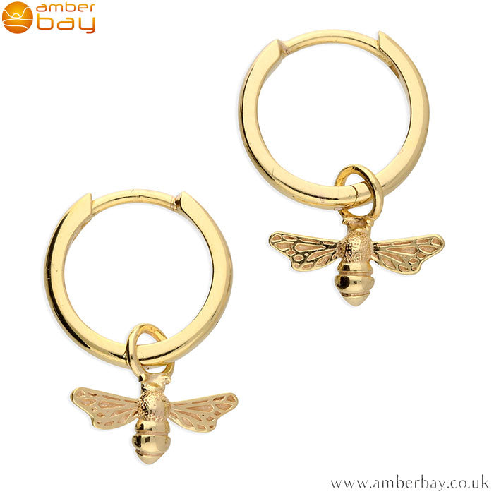 Yellow Gold Plated Bee Hoop Earrings