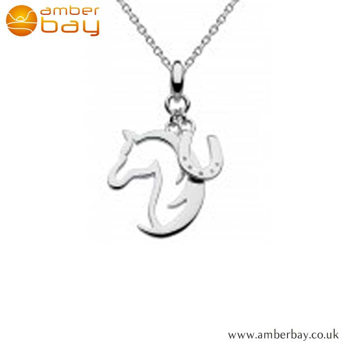 Silver Horse and Horseshoe Pendant 9474HP Kit Heath at Amber Bay