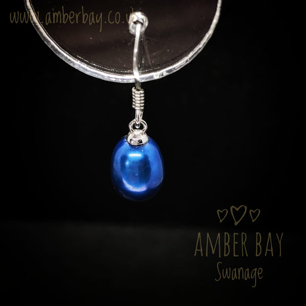 Sterling Silver and Electric Blue Pearl Drops