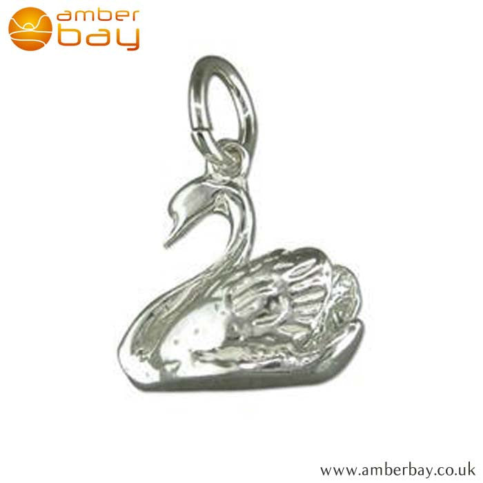Sterling Silver Swan Charm/Pendant L5512 at Amber Bay
