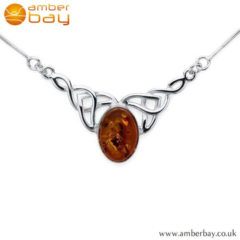 Silver and Amber Celtic Necklace NK201 at Amber Bay