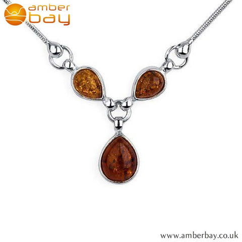 Silver and Amber Trilogy Necklace NK203 at Amber Bay