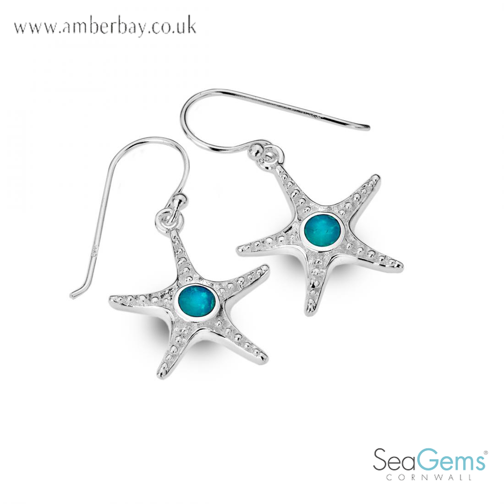 Sea Gems Sterling Silver Turquoise Starfish Earrings P1282