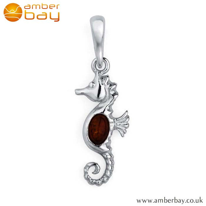 Silver and Cognac Amber Seahorse Pendant P208 at Amber Bay