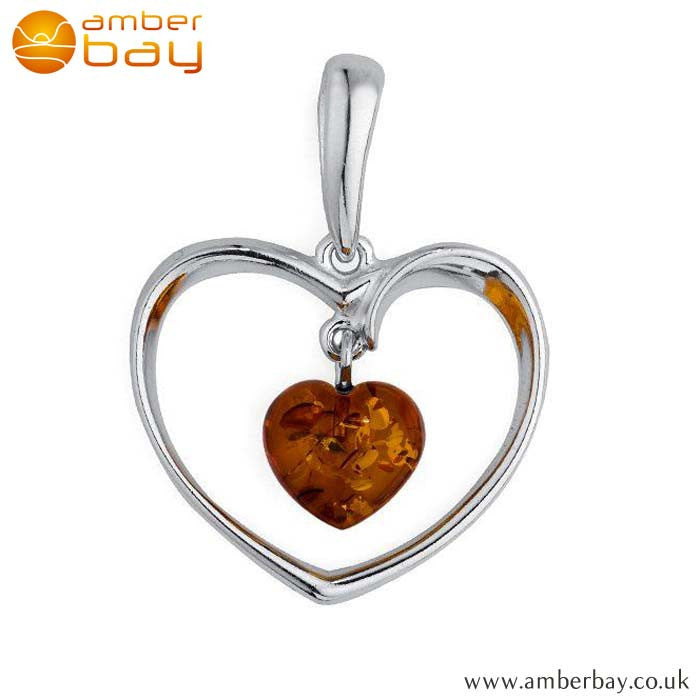 Silver and Cognac Amber Heart Pendant P234 at Amber Bay
