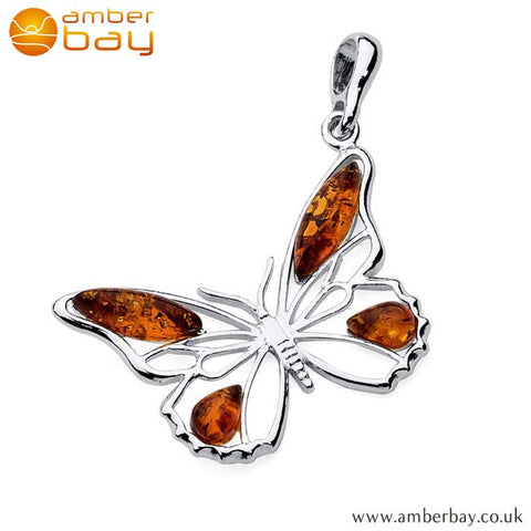 Silver and Amber Butterfly Pendant P253 at Amber Bay