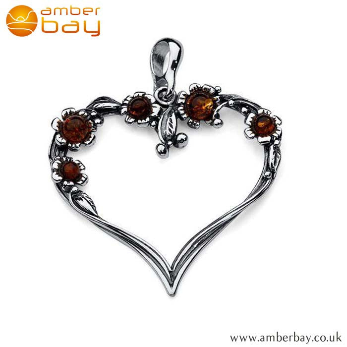 Silver and Cognac Amber Floral Heart Pendant P258 at Amber Bay