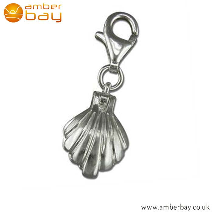 Sterling Silver Clam Shell with Pearl Charm R5956 at Amber Bay
