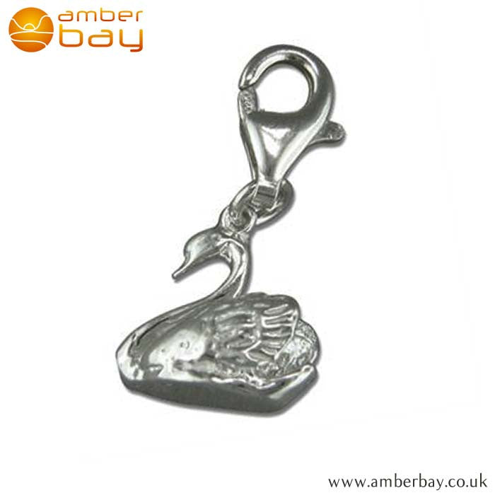 Sterling Silver Swan Charm R5963 at Amber Bay