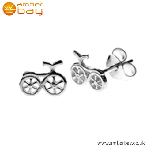 Sterling Silver Bicycle Ear Studs RBS039 at Amber Bay