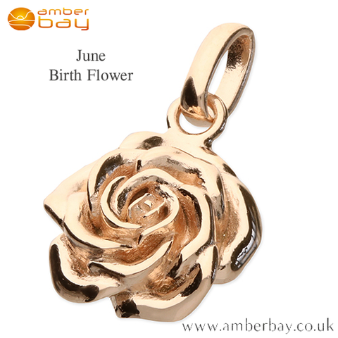 Rose Gold Plated Rose June Birth Flower Pendant/Charm