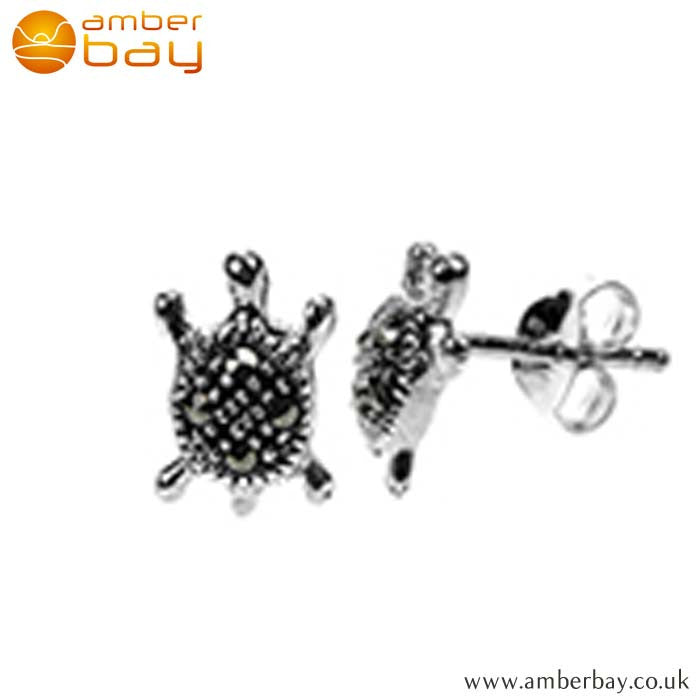 Sterling Silver and Marcasite Turtle Studs S338MR at Amber Bay