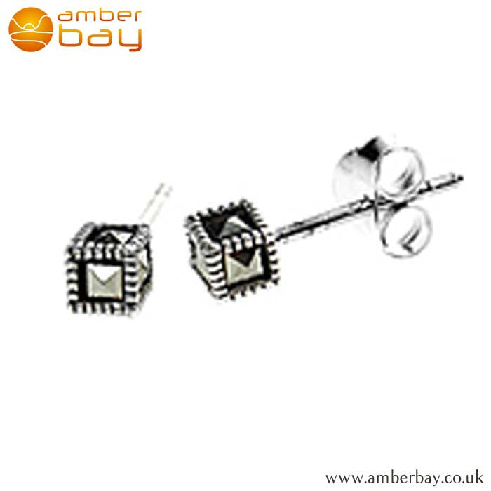 Sterling Silver and Marcasite Square Studs S430MR at Amber Bay
