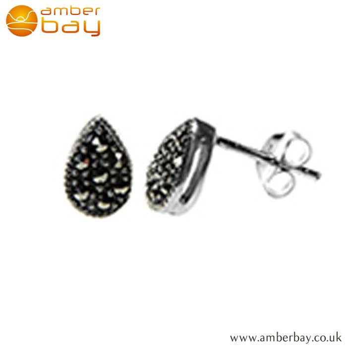 Sterling Silver and Marcasite Teardrop Studs S459MR at Amber Bay