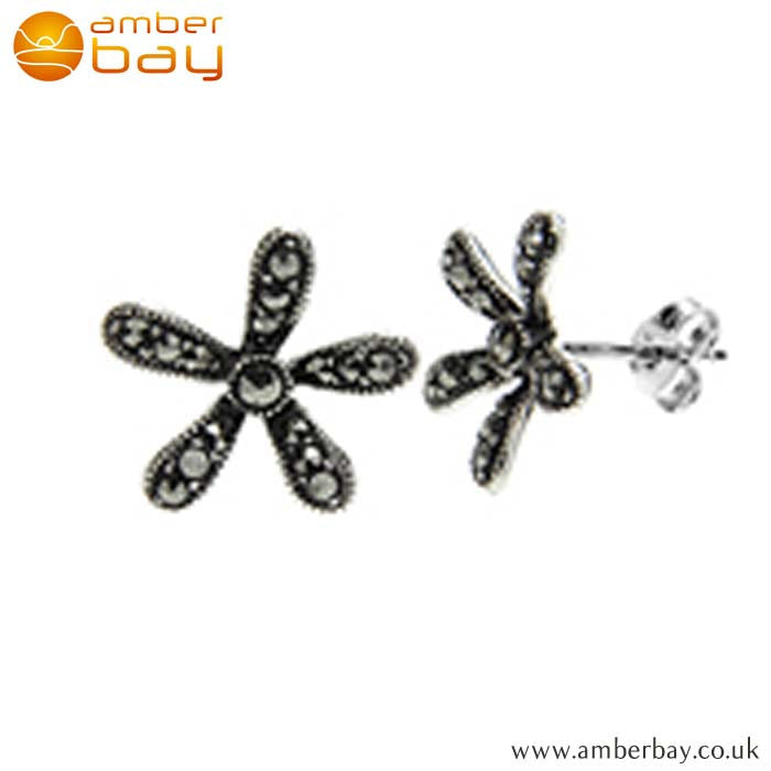 Sterling Silver and Marcasite Flower Studs S491MR at Amber Bay