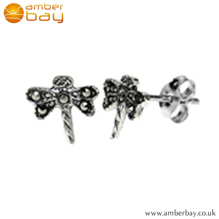 Sterling Silver and Marcasite Dragonfly Studs S624MR at Amber Bay