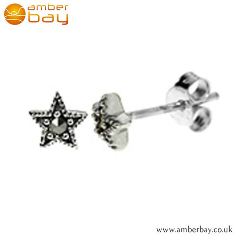 Sterling Silver and Marcasite Star Studs S628MR at Amber Bay