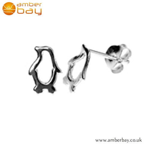 Sterling Silver Penguin Ear Studs S636SIL at Amber Bay