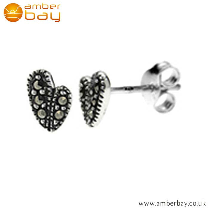 Sterling Silver and Marcasite Heart Studs S697MR at Amber Bay