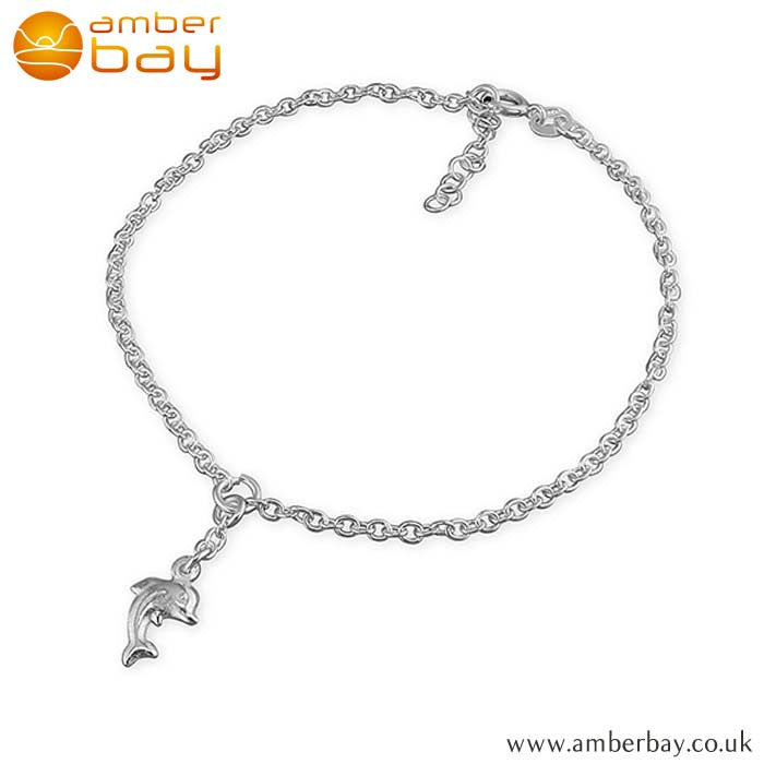 Sterling Silver Anklet with Dolphin Charm H1802-25 at Amber Bay