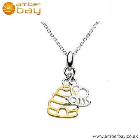 Silver and Gold Plated Bee and Honey Pot Pendant 9466GD Kit Heath at Amber Bay