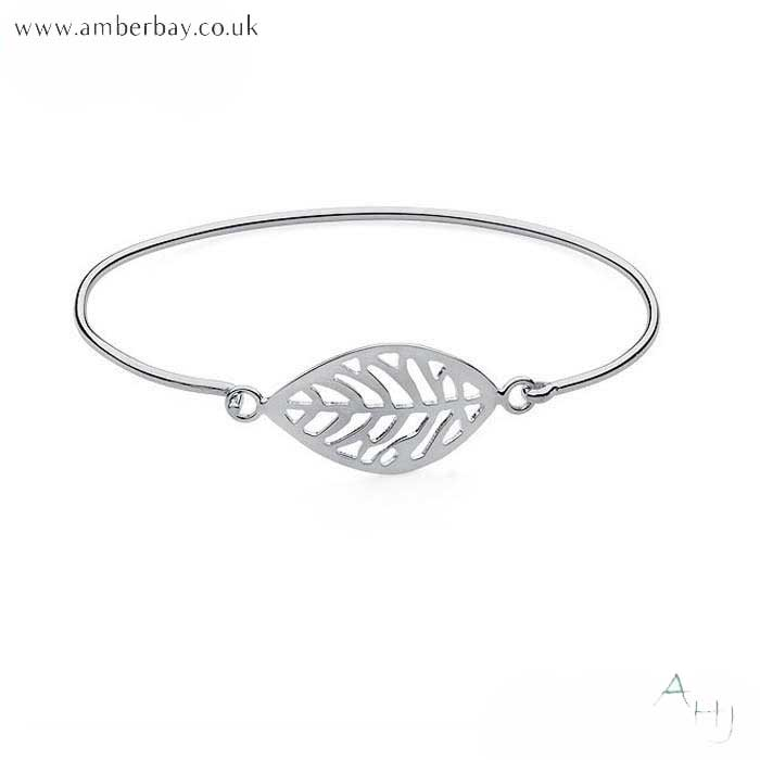 Sterling Silver Leaf Bangle