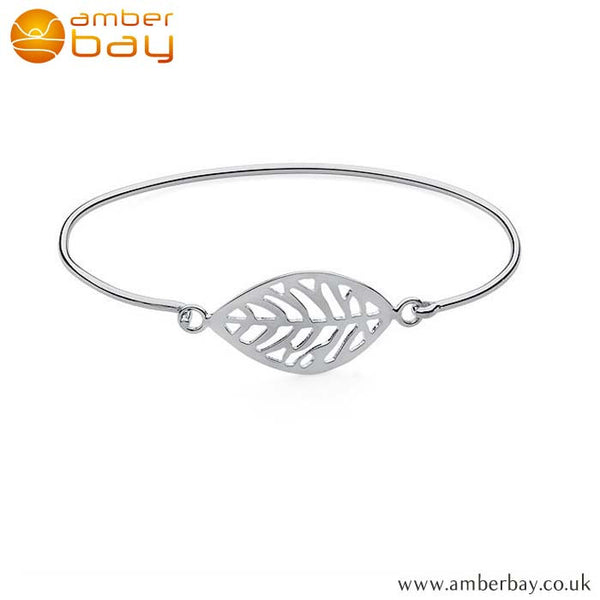 Sterling Silver Leaf Bangle at Amber Bay