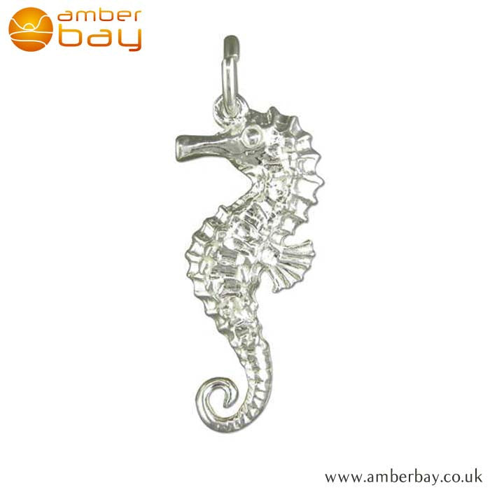 Sterling Silver Seahorse Charm/Pendant L9681 at Amber Bay