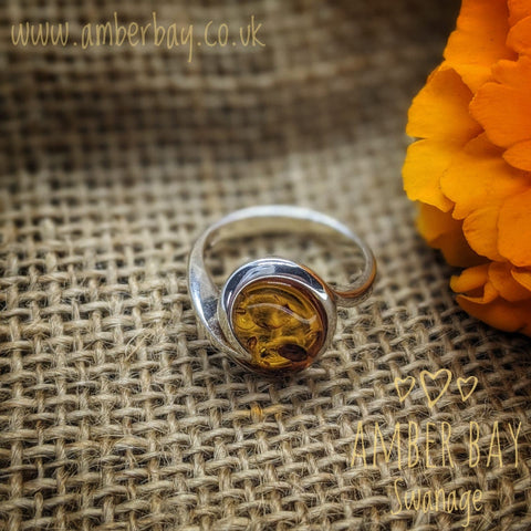 Sterling Silver and Cognac Baltic Amber Ring