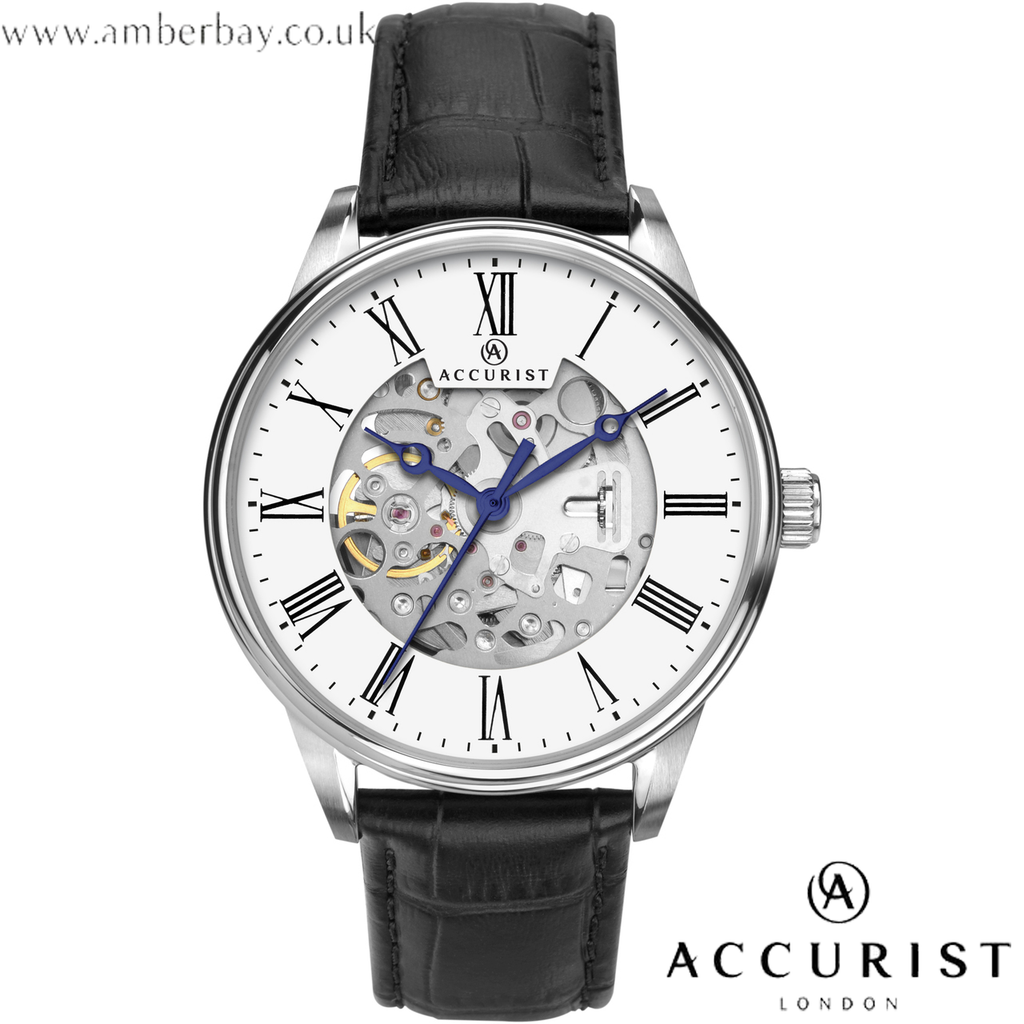 Accurist Gents Skeleton Leather Strap Watch 7701