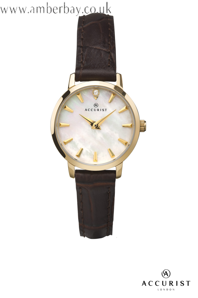 Ladies Accurist Brown Leather Strap Watch 8229