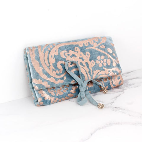 Aqua velvet and rose gold paisley jewellery wrap